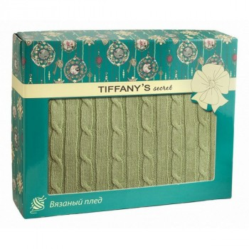 Tiffanys Secret 6040116373 плед трикотажной вязки Косичка Зеленый чай Латте