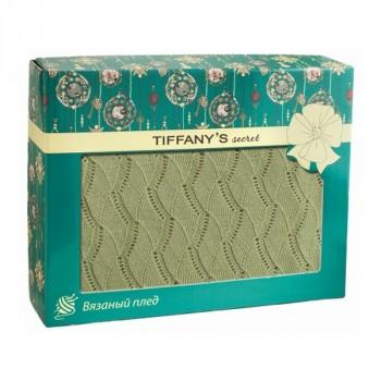 Tiffanys Secret  6040116372 плед трикотажной вязки Ажур Зеленый чай Латте