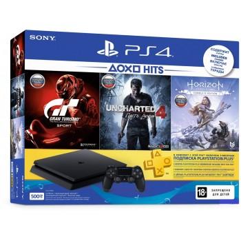 Sony PlayStation 4 Slim 500Gb + Uncharted 4: Путь Вора, Horizon: Zero Dawn, Gran Turismo Sport