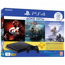 Sony PlayStation 4 Slim 1Tb + God of War, Horizon: Zero Dawn, Gran Turismo Sport