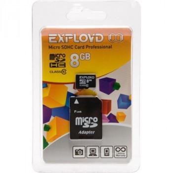 Exployd MicroSDHC 8Gb Class10 + адаптер