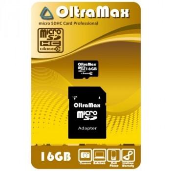 OltraMax MicroSD 16Gb Class10 с адаптером SD