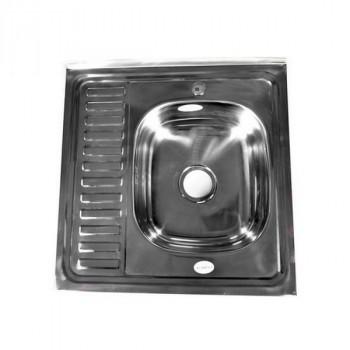 Fabia 62273R Мойка 60х60 наклад правая 0.6 мм + большой сифон с переливом
