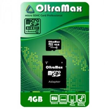 OltraMax MicroSDHC 4Gb Class4 + адаптер SD