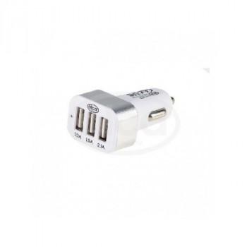 Alca (510 520) Разветвитель (зарядное устройство) прикуривателя 3 USB 2.1 А. бело-серебристый Зарядное устройство