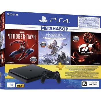 Sony PlayStation 4 Slim 1Tb + Человек-паук, Horizon Zero Dawn, Gran Turismo, подписка PS+