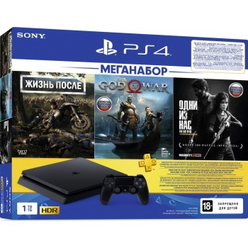 PlayStation 4 Slim 1Tb + Days gone, God of war, Одни из нас, подписка PS+
