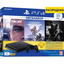 Sony PlayStation 4 Slim 1Tb + Detroit: Become Human, Horizon: Zero Dawn, The Last of Us, подписка PS+